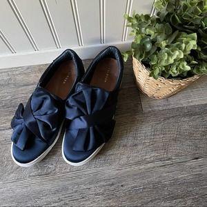 Halogen   Navy Satin Bow Sneakers